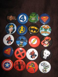 20 Pin Back Button Party Favors Assorted Superhero 1.25 inch Buttons. $10.00
