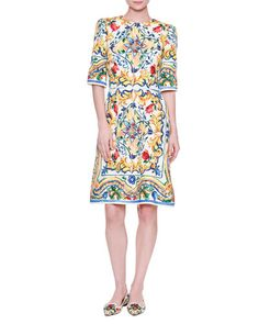 9e4fd2058500b DOLCE   GABBANA Half-Sleeve Maiolica Tile-Print Dress