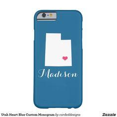 Utah Heart Blue Custom Monogram Barely There iPhone 6 Case