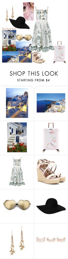 """Places i want to travel: Santorini"" by bruna-love13 on Polyvore featuring moda, Ted Baker, Dolce&Gabbana, Tabitha Simmons, Beauty Secrets, Wildfox, Monki, London Road, New Look e travel"