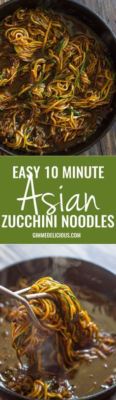 Easy 10 Minute Asian Zucchini Noodles (low-carb, Paleo) sub for the brown sugar