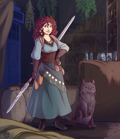 Angela and Solembum by Ticcy on deviantART. now THIS is more like how i imagined her!