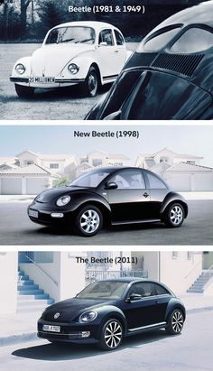 Four generations of the Volkswagen Beetle. A typical feature of models built before 1953 is the split back window. To celebrate reaching a record-breaking 20 million vehicles sold in 1981, the Silver Bug was produced as a special edition. In June 2003, production finally ceased. A few years before, in 1998, the New Beetle took the stage. From 2011 to this day, the special spirit of the original Bug continues to be kept alive by the more dynamic The Beetle.