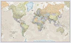This giant world map poster represents nations of the world in a vintage style. The neutral and complementary colors will match well with any existing decor theme. Big World Map, Giant World Map, Cool World Map, World Map Decor, World Map Poster, World Map Wall Art, Map Posters, Room Posters, Travel Posters