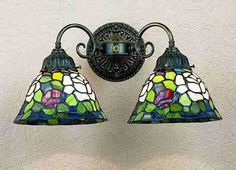 Rosebush Two Light Tiffany Stained Glass Wall Sconce