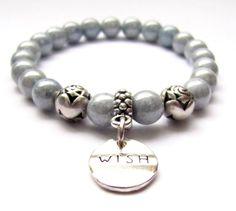 Blue Glass Beaded Wish Charm Elastic Bracelet 7 by HeartProjects