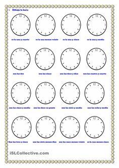 Worksheet La Hora Worksheet thematic units spanish and crossword puzzles on pinterest la hora