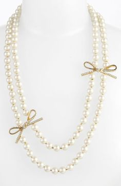 Kate Spade new york 'skinny mini' faux pearl necklace. Via Diamonds in the Library.