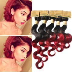 Burgundy Red Ombre Body Wave Real Human Hair Extensions Brazilian Hair Wefts 7A #WIGISS #HairExtension