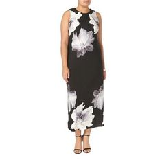 Evans Black and ivory floral print maxi dress | Debenhams