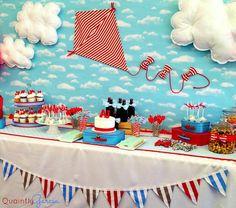bow tie baby shower ideas, kite baby shower, blue aand red by adriana via babyshowerideas4u