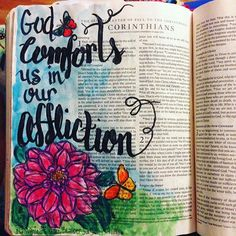 God comforts us in our affliction. (Journaled the day of my son's surgery. God was a comfort to us through the experience.) #2corinthians #illustratedfaith #illuminatedjournaling #biblejournaling #journalingbible #crossway #bibleart #bible