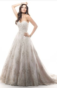 Strapless Princess/Ball Gown Wedding Dress  with Natural Waist in Beaded Embroidery. Bridal Gown Style Number:33112608
