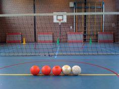 Chaosnetbal. Materialen: - volleybalnet (50cm boven de grond) - 3 à 4 foamballen - 2 voetballen - 6 pionnen -8 matjes - 2 baskets Lesvoorstel: Leerlingen proberen de rode bal over het net in het doel van de tegenstanders te gooien en de voetballen onder het net door. Jij bent af en moet wisselen als de bal in je doel zit, de pion naast je doel omgaat, als je de voetbal over het net schiet en als de bal in de basket gaat.