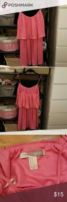 Pink Chiffon Tier Layered Dress Worn once. 3 layers of sheer soft fabric (not see-through because of the multiple layers), adjustable straps, elastic waist. 34 inches in length. 100% polyester Forever 21 Dresses