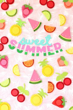 DIY Chipboard Letters for Summer DIY chipboard letters for the summer Summer Fruit, Summer Diy, Summer Crafts, Diy And Crafts, Paper Crafts, Summer Bulletin Boards, Paper Medallions, Fruit Crafts, Summer Banner