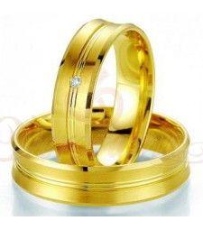 Βέρες γάμου χρυσές με διαμάντι breuning 7021-7022