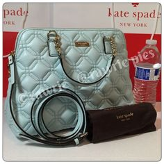 """New Kate Spade quilted leather crossbody Satchel 100% authentic. Quilted pale blue leather with 14-karat light gold plated hardware. Inside zip and slip pockets. Zip top closure and fabric lining. Handles drop 5"""". Longer detachable and adjustable strap. Measures 12.5"""" (L) x 9"""" (H) x 5"""" (W). Brand new with tags. Comes from a pet and smoke free home. Kate Spade dustbag and shopping bag included. kate spade Bags Satchels"""