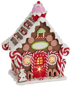 Kurt Adler Candy Gingerbread House Table Piece - Holiday Lane - For The Home - Macy's