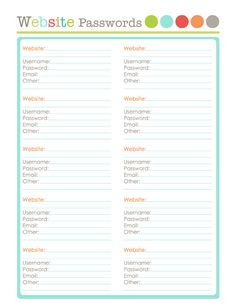 Computer Password Organization  Free Printable  Organizations