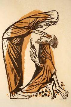 Christ Healing the Blind Man, by Robert Hodgell, linocut print, ca. Catholic Art, Religious Art, Bible Illustrations, Illustration Art, Christian Artwork, Spiritual Images, Jesus Art, Religious Pictures, Biblical Art