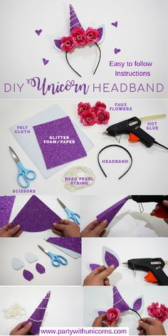 KAMI GARCIA - The perfect weekend project .EASY DIY FLOWERS moreHow to make a unicorn headband - FREE printable pattern!Make your unicorn dreams come true with this simple DIY costume headband. It includes a Diy Unicorn Costume, Diy Unicorn Headband, Unicorn Crafts, Diy Headband, Diy Unicorn Horns, Unicorn Diys, Unicorn Horn Headband, Baby Unicorn, Unicorn Hair