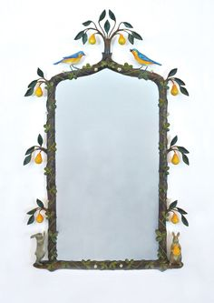 Carvers' Guild Hand Painted In a Pear Tree Mirror from The Well Appointed House