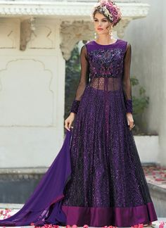 Gripping Purple Net Silk Lehenga Style Suit