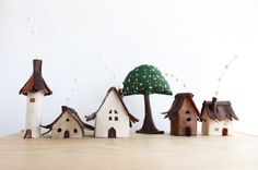 Miniature felt houses with tree Home decor. Textil art. by Intres, $35.00