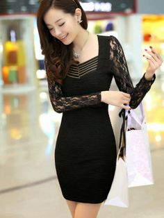 Stylish Lace Sleeve U-Neck Collar Hip Package Dress