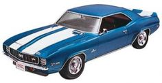 Revell 85-7457  1/25  1969 Camaro Z/28 RS. This is a 1/25 scale '69 Chevy Camaro Z/28 RS plastic model kit. The kit features detailed plastic pieces molded in white, transparent red and clear. It also includes chrome plated parts, soft black tires, waterslide decals and illustrated instructions. The hood opens to reveal the detailed 302 cubic-inch V-8 engine. Suitable for ages 10 & up. Requires plastic cement, hobby knife and paint. MSRP $21.99