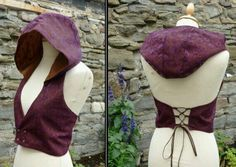 Hooded vest, Backless Pixie Elfling Waistcoat, Corset detail Lace Fabric Not knit, but would like to do something like this! Hooded Vest, Creation Couture, Fantasy Costumes, Character Outfits, Larp, Lace Fabric, Costume Design, Diy Clothes, Cool Outfits
