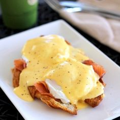 Eggs Benedict with smoked salmon on a toasted croissant.  And with only 3 ingredients, this delicious Hollandaise sauce is just too easy!
