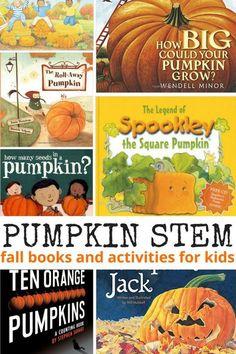 Pumpkin Activities: Pumpkin Science and STEM book activities for kids fall STEM ideas. Pumpkin Books, Pumpkin Stem, Pumpkin Crafts, Autumn Activities, Stem Activities, Halloween Activities, Halloween Books, Classroom Activities, Spooky Halloween