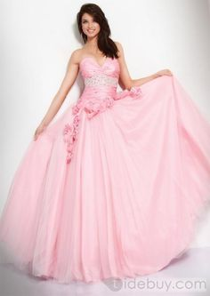 Pink Ball Gown Sweetheart Floor Length Zipper Prom Dresses With Beading and Tulle and Belt Cheap Homecoming Dresses, Prom Dresses Jovani, Pink Prom Dresses, Tulle Prom Dress, Quinceanera Dresses, Trendy Dresses, Ball Dresses, Ball Gowns, Evening Dresses