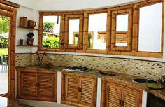 bamboo furniture Bamboo Furniture, Kitchen Furniture, Kitchen Decor, Kitchen Ideas, Home Design, Filipino House, Bamboo House Design, Bamboo Building, Bamboo Panels