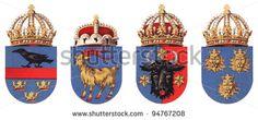 Coat of arms Austria-Hungary empire - Galicia (first) - Istria (second) - Bukovina (third) - Dalmatia (fourth) / vintage illustration from Meyers Konversations-Lexikon 1897
