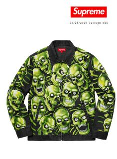fbc70f648a254d Supreme Skull Pile Work Jacket Size Medium SS18 New Mens Green Black   Supreme  CasualWork