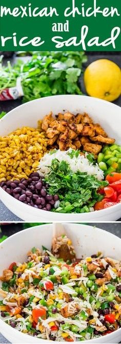 Mexican Chicken and Rice Salad - a fresh summer salad loaded with black beans, chicken, corn and rice. Totally addicting!