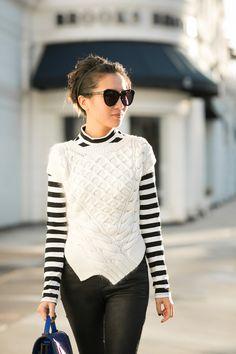 Karen Walker Number One Sunnies in black Fuzzy Stripes :: Asymmetric hem
