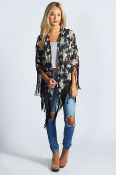 Boohoo Francesca Floral Fringed Kimono in Navy   eBay
