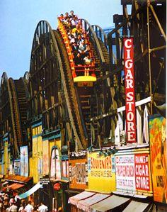 Thunderbolt Rollercoaster, Coney Island NY, c. 1950. Photo by Jerry Dantzic.