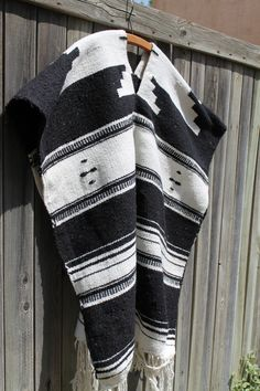 vtg cotton black & white poncho sarape UNISEX by Taite on Etsy,