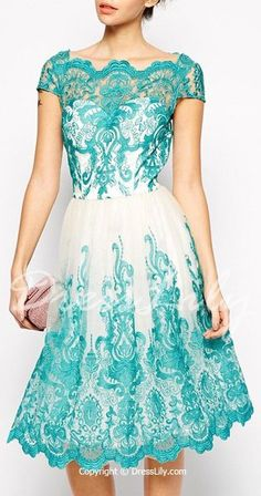 Elegant Jewel Neck Short Sleeve Lace Dress