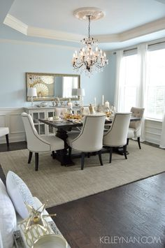 Dining Room Tray Ceilings - Dining Room Tray Ceilings, Would Love to Lower My Dining Room Ceiling and Build In A Decor, Dining Room Design, Fall Dining Room, Dining Room Inspiration, Dinning Room Decor, Dining Room Ceiling, Dining Room Blue, Home Decor, Grey Dining Room