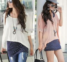 Fashion Summer Casual Women Short Sleeve Batwing Cotton Loose T Shirts Tops Dots 2 Piece Suit Mini Dresses White Pink Free Shippng