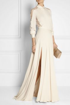 Elie Saab|Silk crepe de chine maxi skirt|NET-A-PORTER.COM EDITORS' NOTES & DETAILS Elie Saab's maxi skirt is cut from mid-weight silk crepe de chine that moves beautifully as you walk. This piece is split to the thigh on both sides and falls into an elegant puddle hem. Wear it with the coordinating blouse and gold jewelry.