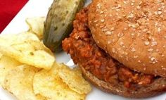 26 Vegetarian & Vegan Crock Pot Recipes: Slow Cooker Vegetarian Sloppy Joes with whole wheat hamburger buns, brown rice, lentils