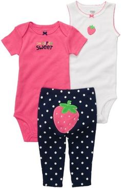 Carters Girls Newborn-12 Months Strawberry ''I'm Super Sweet'' Onesie Pant Set (Newborn, Pink/Navy) - Get two cute outfits for one great value. The pants have adorable turn-me-around strawberry and looks oh-so cute. - Layette Sets - Baby - $14.99