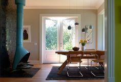 Dining room + Aqua fireplace | interiors | Pinterest